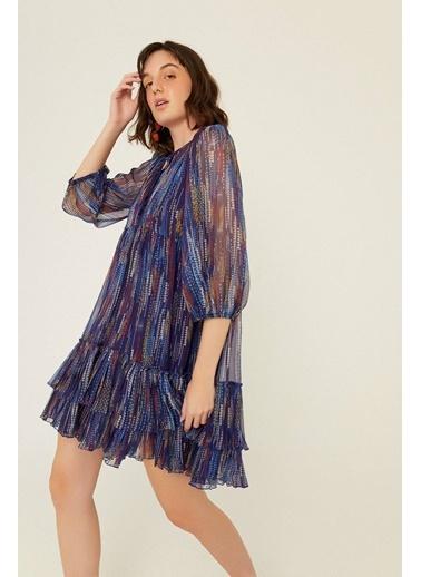 Rue Desenli Volanlı Mini Elbise Lacivert